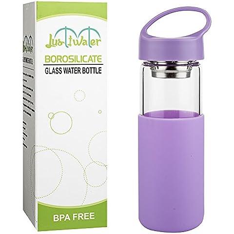 Justfwater Botella de Agua de Vidrio de Borosilicato con Funda de Silicona, Filtro - 450 ml
