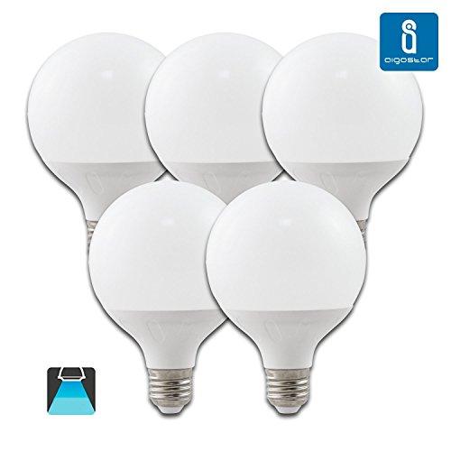 Aigostar - Confezione da 5 Lampadine LED G95, globo, 15W, E27, 1275 lumen, Luce Bianca 6400K[ClassediefficienzaenergeticaA+]