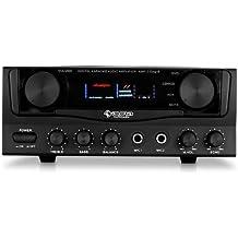 auna Amp-2 amplificatore Hi Fi (400 Watt, ingressi RCA e jack) - nero