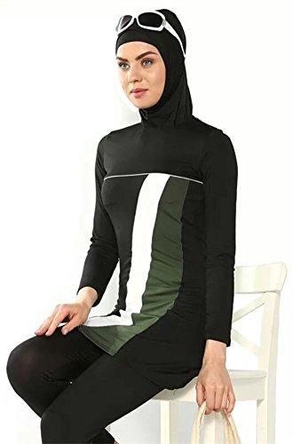 YEESAM Muslimischen Badeanzug - Muslim Islamischen Bescheidene Badebekleidung Modest Swimwear Burkini für muslimische frauen - hijab abnehmbaren Schwarz