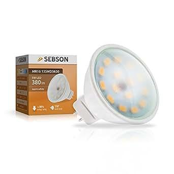SEBSON® Ampoule LED 5W (remplace 35W) - Culot GU5.3 MR16 - Angle du faisceau 110° - Blanc chaud - 380lm