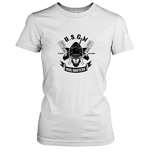 TEXLAB - USCM Bug Hunters - Damen T-Shirt, Größe XL, weiß (Predator Hunter Kostüm)
