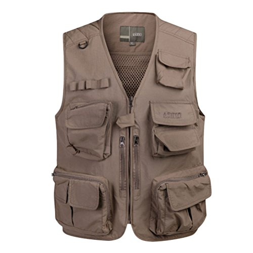Zhhlaixing Bon tissu Mens Outdoor Multipocket Fishing Working Vest Mesh Waistcoat Gift for Father's Day Kaki
