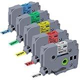 5x Unistar laminiertes Schriftband/Etikettenband, äquivalent zu Brother P-Touch TZe-231-731;12mm x 8m kompatibel mit Brother P-Touch PT-H105, PT-H100, PT-1005, PT-1000, PT-1080