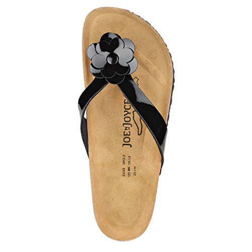 JOE n JOYCE Madrid Synsoft Damen Zehentrenner Sandalen mit Blüten-Applikation Black Patent