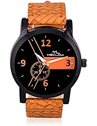 Latest Fashionable Brown Leather Belt With Round Black Dial Watch Casual / Formal Watches For Mens And Boys By...