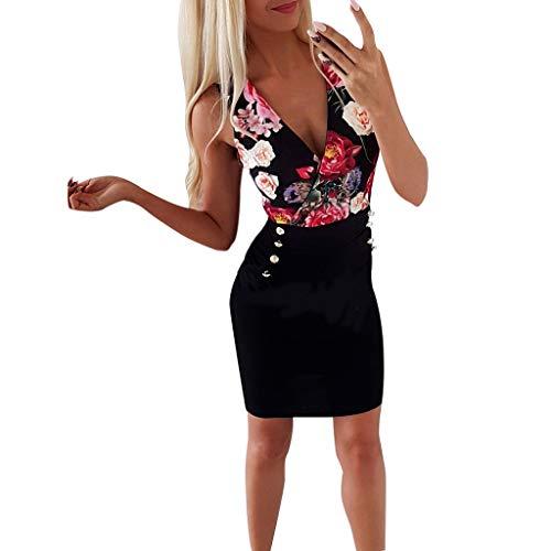 Junjie Frauen Sommer Mode Kleid Sexy Rundhals Rose gedruckt Knopf Kleid Tanktop Sommer locker Sport grün pink Strand Stretch blau weiß (M, Schwarz) -