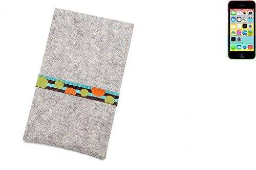 """flat.design Filzhülle """"Lisboa"""" für Apple iPhone 5c - passgenaue Handytasche aus 100% Wollfilz (anthrazit) - made in Germany Schutz Case für Apple iPhone 5c Kreise - hellgrau"""