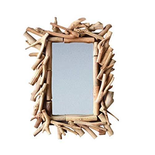 JXQ Espejo Espejo de madera maciza hecho a mano puro Espejo decorativo minimalista nórdico pegatinas de pared Espejo de suelo decoración creativa