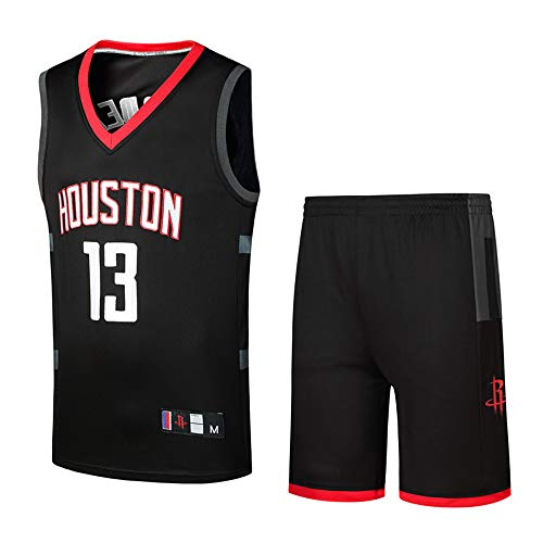 DEBND Herren-und Unisex-Basketball-T-Shirt-Sommer-Basketball-Uniform NBA Houston Rockets # 13 Harden Jersey-Basketball-Trikots Set Classic Stickerei Ärmellos Top & Shorts -