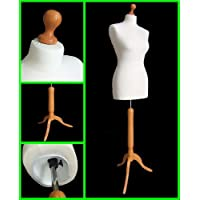 The Shopfitting Shop Size 14 Female Dressmaking Mannequin Tailors Bust Dressmakers Display Dummy on a stylish Wooden Tripod Base