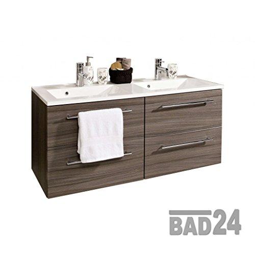 Waschplatz 120 Mailand Eiche dunkel inkl. Doppel-Waschbecken