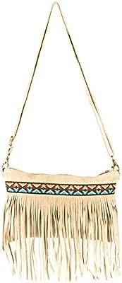 Laura Moretti Handbags - Bolso de mano (cartera) de piel con correa para el hombro, bolsillo interior, flecos y bordado étnico
