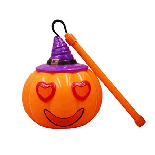 Amosfun 2 stücke Kürbis Laternen Tragbare Sprachaktivierte Blinklicht Halloween Requisiten Partei Liefert Kinder (Lila Hut Stil C + Lila Hut Stil D)