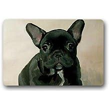 """Lakesides Custom Bulldog Francés Welcome Felpudo alfombra alfombrillas de interior/al aire libre alfombra de bienvenida Felpudo decoración 23.6""""(L) X 15,7(W)"""