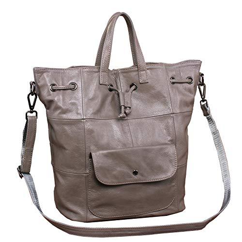 Beylasita Damen Ledertasche echt Leder Rucksack Daypack Cityrucksack große Messenger Bag Handtasche Umhängetasche für Freizeit Business Schule Reise Arbeit (Grau)