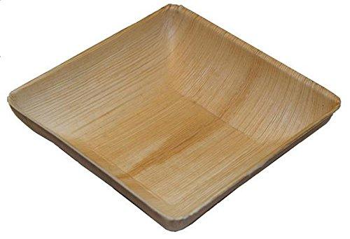 Simplyleaf SLBO07A-25P quadratische Palmblatt Schalen randvoll, 800 ml (25-er Pack) - 2