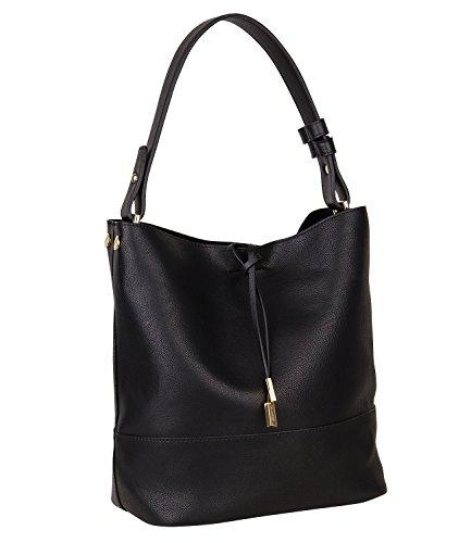 SIX Mittelgroße weiche Schwarze Damen Handtasche, Schultertasche, Beutel, goldene Details, Separate Innentasche, Abnehmbarer Riemen (463-894)