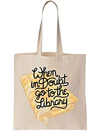 When In Doubt Go To The Library Hermione Quote Cotton Canvas Tote Bag