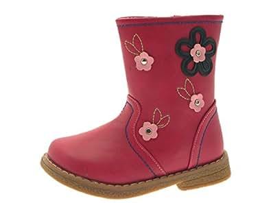 Lora Dora Filles Tout-petits Faux Mi-mollet Cuir Bottine Fleur Fausse Fourrure Léopard Chaussures Pointure 2-11 - Fleur Rose, 20