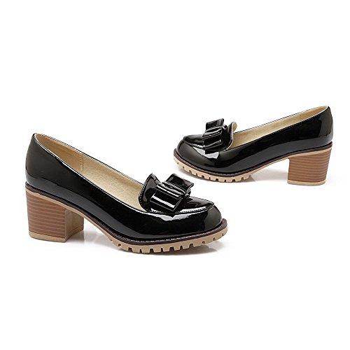 Chaussures AgooLar Couleur Unie Légeres Noir Rond Talon Tire PU Cuir Correct à Femme rqrw0xv1
