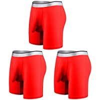 Desconocido JIER 3PCS Men 's Sexy Long Leg Silky Smooth Quick Dry Pouch Boxer Briefs Ropa Interior Pantalones