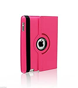 Liroyal PU Leather 360 Degree Rotating Stand Case Cover for The iPad2 3 4 Rose
