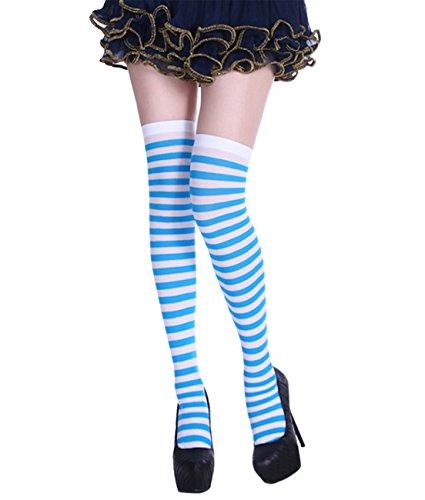 SAMGOO Damen Gestreifte Overknees Strümpfe Kniestrümpfe Karneval Fasching cosplay Kostüm (2) (Strumpf Cosplay Kostüm)