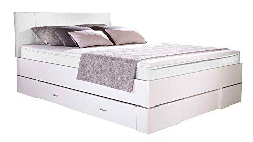 Boxspringbett Polsterbett Doppelbett GAVIN | 140x200 cm | Weiß | Bonellfederkernmatratze