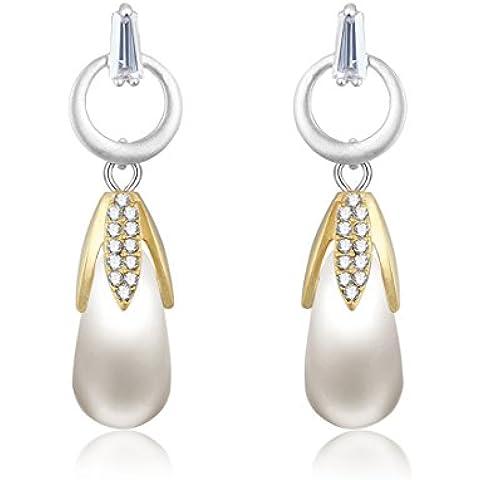 Pendientes del perno prisionero de mujer - Forma de Maíz - Natural agua dulce de la perla 8mm - Chapado en oro