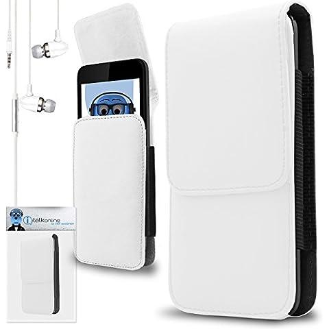 iTALKonline Samsung T509 Bianco PREMIUM PU pelle verticale esecutivo laterale della cassa del sacchetto per armi della copertura con attacco cintura Clip e chiusura magnetica