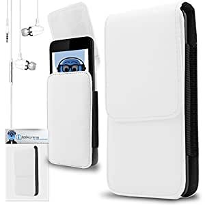 iTALKonline WileyFox Spark + Plus / Spark White PREMIUM PU Leather Vertical Executive Side Pouch Case Cover Holster with Belt Loop Clip and Magnetic Closure Includes White Premium 3.5mm Aluminium High Quality In Ear Stereo Wired Headset Hands Free Headphones with Built in Mic Microphone and On Off Button