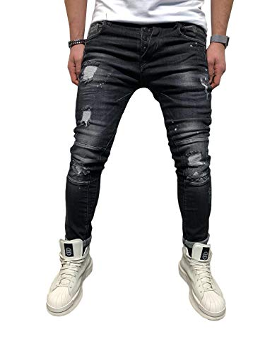 BMEIG Jeans Ajustados Hombre Rotos Pantalones de Mezclilla Elásticos Slim Fit Ripped Desgastados con Bolsillo Trabajo Hiphop Pantalones de Chándal Cargo Invierno Negro S-4XL