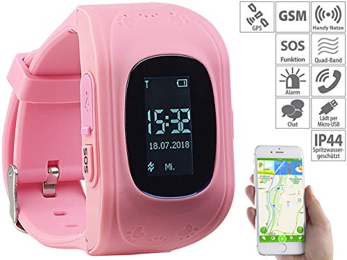 TrackerID GPS Kinderuhr: Kinder-Smartwatch mit Telefon- & SOS-Funktion, GPS-/LBS-Tracking, rosa (Kinder Watch)
