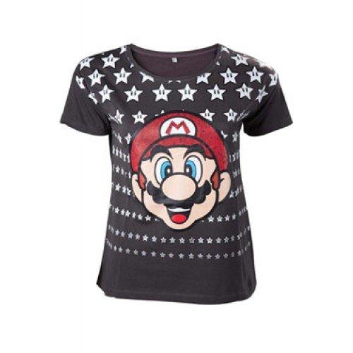 Nintendo Mario Stars Maglia donna carbone L