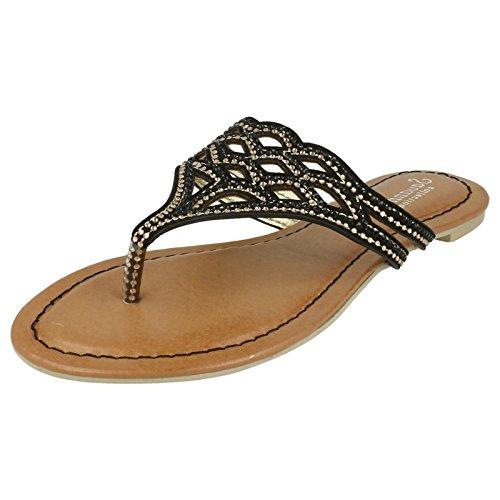 Sandales à enfiler pour femmes Savannah à entredoigt orné de bijoux Noir