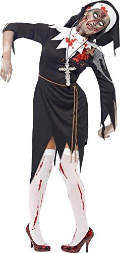 Smiffys, Damen Zombie-Nonne Kostüm, Kleid mit Latex Wunden, Roben Gürtel und Kopfteil, Größe: S, (Kostüme Nonne)