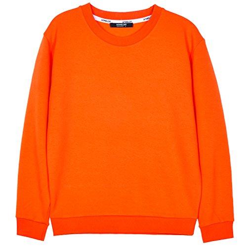 ililily Men Cotton Solid Color Simple Crew Neck Spring Pullover Sweatshirt Top, Sunset Orange, US-XS - Mens Crew Neck Thermal