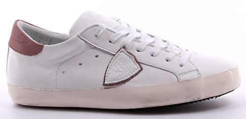 Scarpe Sneakers Uomo PHILIPPE MODEL Paris Classic Low Veau White Rose Bianca ITA