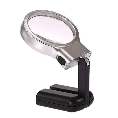 Fangfang GAO magnifier 3X Hands Free Faltbares Vergrößerungsglas mit LED-Lampe Pocket Handheld Desktop-Lupe für Bücher Zeitungen Karten Münzen Schmuck Hobbies -