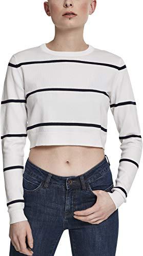 Urban Classics Damen Ladies Short Striped Sweater Pullover, Weiß (White/Navy 01289), Small (Herstellergröße: S) -