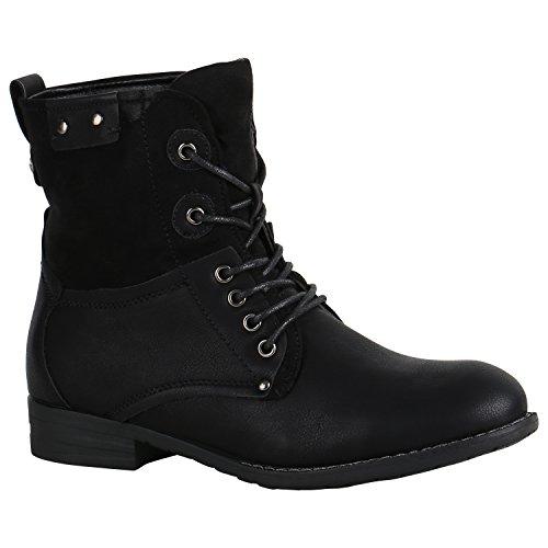 Stiefelparadies Damen Stiefeletten Schnürstiefeletten Leder-Optik Schuhe Basic Boots Klassische Schnürboots 151503 Schwarz Autol 39 Flandell