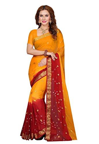 Ishin Chiffon Saree (Ishin-Ss-20007_Yellow & Red)