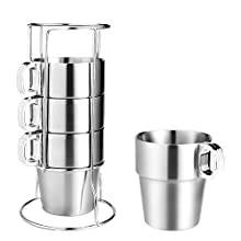 Wilxaw Kaffeetasse Edelstahl 4er Set, tragbar Kaffeebecher Stapelbar mit MetallStänder, Cappuccino Tassen Hochtemperatur Widerstand für Büro Camping Zuhause