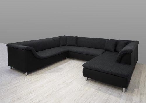 Dreams4Home Polsterecke Loree; Sofa Wohnlandschaft Ecksofa Couch XXL U-Form grau schwarz, Aufbauvariante:Ottomane links davorstehend