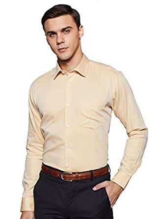 Amazon Brand - Symbol Men's Solid Regular Fit Full Sleeve Formal Shirt (SY-SS19-FS-019_Beige_39)