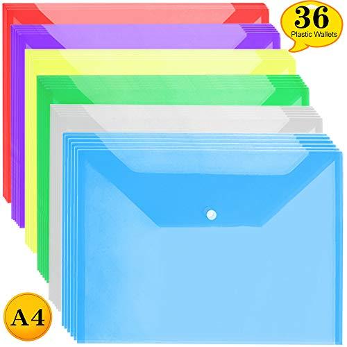 Cartelline Portadocumenti - A4 Cartelline Trasparenti Cartellina Porta Documenti con Bottone (36 pz)