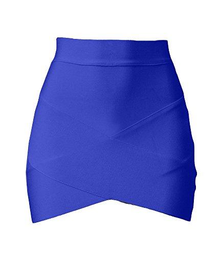 Donne Sexy Vestiti Asimmetrico Hem Bodycon Minigonna para Club Blu