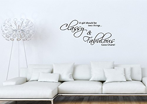 wandaufkleber küche Vinyl Removable Wall Stickers Mural Decal Diy Art A girl should be two things Classy & Fabulous Coco Chanel home decor