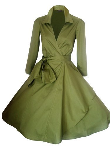 LOOK FOR THE STARS Retro Vintage Kleid Abend Party 50er Jahre Stil Rockabilly / Sommerkleid/Cocktailkleid UK(Herstellergröße18)46  Olivgrün